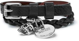 Alexander McQueen Woven Leather and Silver-Tone Wrap Bracelet - Men - Black