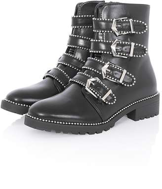 Girls On Film Black Buckle Strap Boots