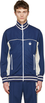 Palm Angels Navy Weed Track Jacket $630 thestylecure.com