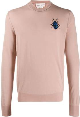 Alexander McQueen embroidered bug knitted jumper