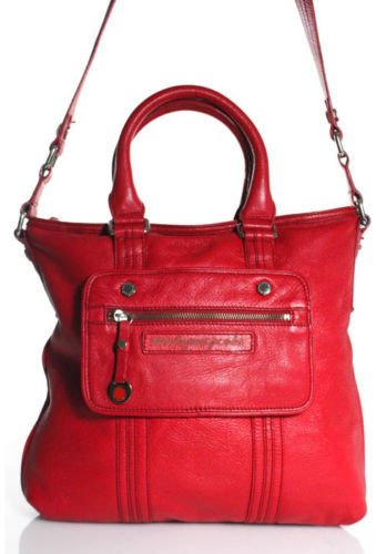 Marc By Marc Jacobs Marc By Marc Jacobs Red Pebbled Leather Silver Tone Crossbody Tote Handbag