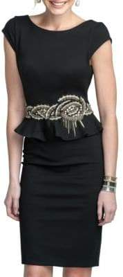 Terani Couture Glamour by Embroidered Peplum Dress