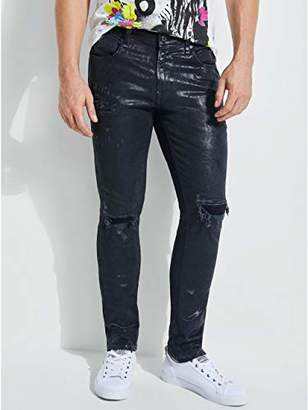 GUESS Men's Foil Graffiti Skinny Jean