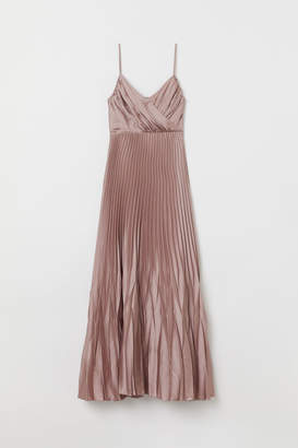 H&M Pleated Long Dress - Pink
