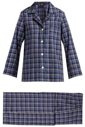 Emma Willis - Checked Cotton Pyjama Set - Womens - Blue Print