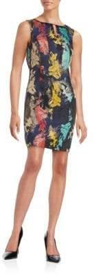 Ellen Tracy Jacquard Embellished Sleeveless Sheath Dress