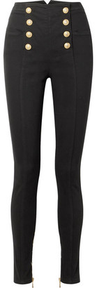 Balmain Button-embellished High-rise Skinny Jeans - Black