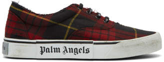 Palm Angels Red Tartan Distressed Sneakers