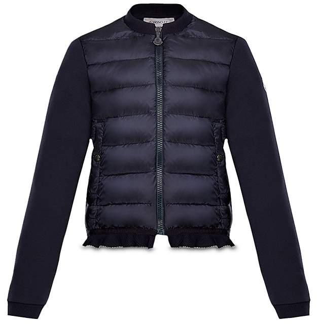 Moncler Girls' Contrast Knit Ruffled Puffer Jacket - Big Kid