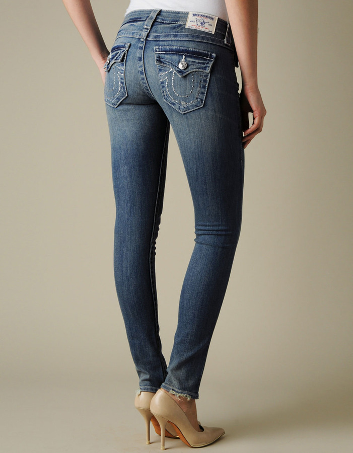True Religion Womens Hand Picked Crystal Outline Skinny Jean