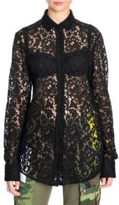 Dolce & Gabbana Dolce& Gabbana Dolce& Gabbana Women's Lace Button-Front Blouse - Black - Size 40 (4)