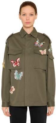 Valentino Butterfly Cotton Gabardine Field Jacket