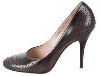 9cc8fdd12 Salvatore Ferragamo Gray Leather Pumps - ShopStyle