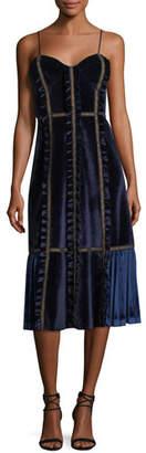 Self-Portrait Sleeveless Velvet Paneled Midi Dress