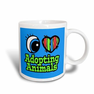 3dRose Bright Eye Heart I Love Adopting Animals, Ceramic Mug, 15-ounce