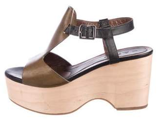 Marni Leather Platform Sandals Olive Leather Platform Sandals