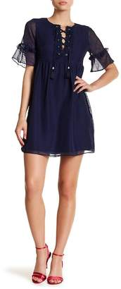 Laundry by Shelli Segal Empire Waist Lace-Up Dress