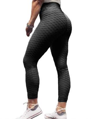 b86942942b Hioinieiy Womens Ruched Scrunch Butt Lifting Leggings High Waisted Workout  Sport Gym Push Up Levanta Nalgas