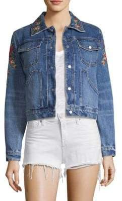 Hudson Floral-Embroidered Denim Trucker Jacket