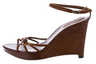 Sergio Rossi Suede Multistrap Wedge Sandals