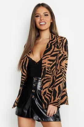 boohoo Petite Zebra Print Blazer