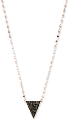 Lana Reckless Black Diamond Triangle Necklace in 14K Rose Gold