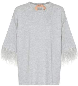 N°21 Cotton T-shirt with feathers