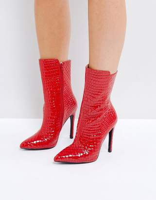 Public Desire Chile Red Patent Textured Heeled Ankle Boots
