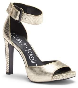 Calvin Klein Marinda Snake Print Leather Sandal