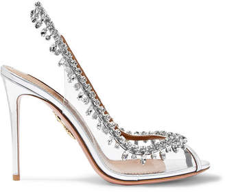 Aquazzura Temptation Embellished Metallic Leather And Pvc Slingback Pumps - Silver