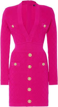 Balmain Cinched Waist Stretch Jacquard-Knit Dress
