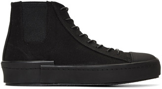 Yohji Yamamoto Black Gore High-Top Sneakers $1,050 thestylecure.com