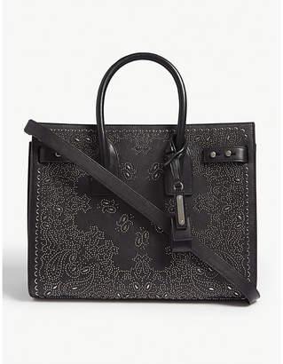 Saint Laurent Sac de Jour paisley small leather tote bag