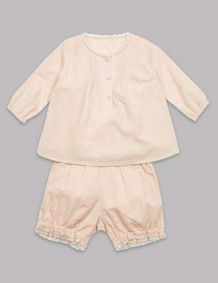 Marks and Spencer 2 Piece Cotton Rich Top & Shorts Outfit