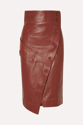 Petar Petrov Button-detailed Leather Wrap Midi Skirt - Brown