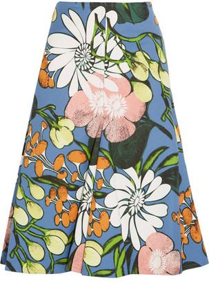 Marni - Floral-print Cotton And Linen-blend Faille Midi Skirt - Blue