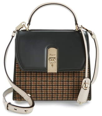 Salvatore Ferragamo Salvatore Ferragmao Boxyz Tweed & Leather Satchel