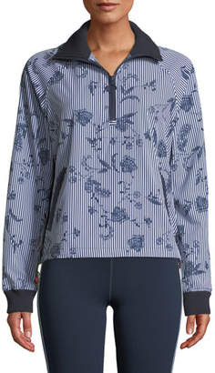 The Upside Florence Striped Floral Quarter-Zip Jacket