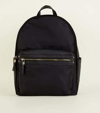 New Look Black Nylon and Leather-Look Backpack f484bf7872