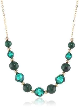 Swarovski Gold-Plated Sterling Silver Malachite and Elements Necklace