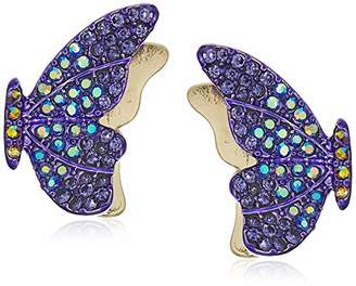 Betsey Johnson Gbg) Pave Butterfly Stud Earrings