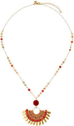 Panacea Beaded Fringe Pendant Necklace Red