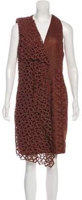 Akris Embroidered Sleeveless Midi Dress