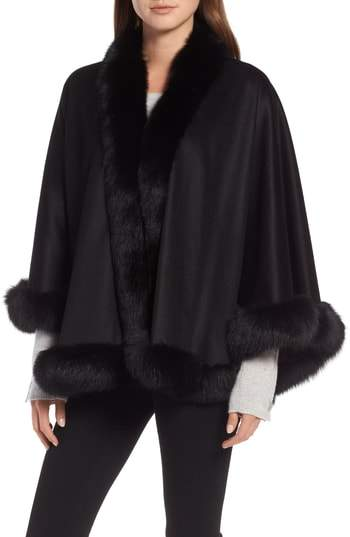 Sofia Cashmere Petite Genuine Fox Fur Trim Cashmere Cape