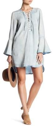 Vintage Havana Front Lace-Up Bell Sleeve Dress