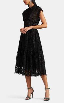 Sophia Kah Women's Floral Lace A-Line Cocktail Dress - Black