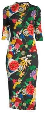 Alice + Olivia Deloral Floral Mockneck Sheath Dress