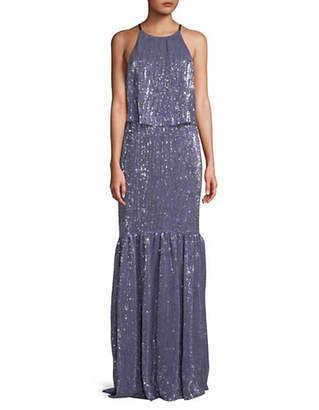 Halston H Sequined Sleeveless Gown