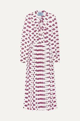 Prada Pussy-bow Pleated Printed Crepe Midi Dress