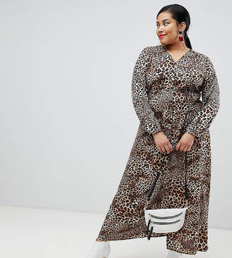 Glamorous Curve maxi tea dress in leopard print